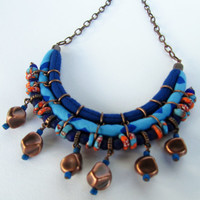 Bohemian jewelry/ Blue necklace/ Bib Necklace/ Trade beads necklace