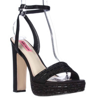 Betsey Johnson Alliie Ankle Strap Platform Dress Sandals, Black, 8 US