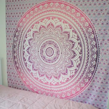 QUEEN Size Eye Catching Pinku0026Purple Indian Mandala/TAPESTRY/beach Part 44