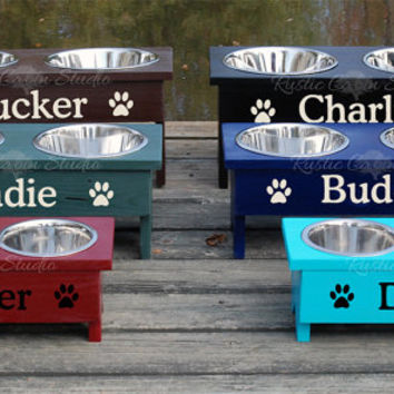 Raised Pet Feeder - Personalized Dog Bowls - Elevated Cat Dish
