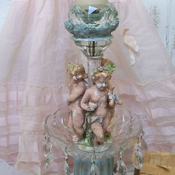 Elaborate cherub candle holder large shabby chic home decor created from recycled lamps Anita Spero