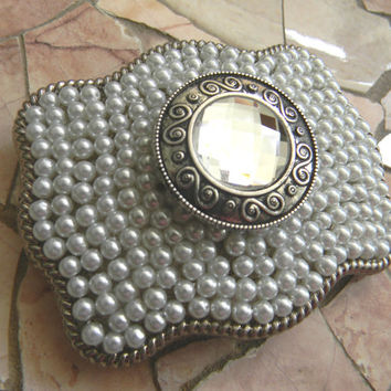 Silver Concho Belt Buckle, Western Womens Concho Belt, Pearl Belt Buckle, Silver Concho Western Custom Belt Buckle, Womens Conch Belt