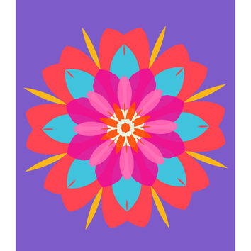 Flower Power No. 2 Purple Passion, Floral, Abstract, Neon Pink, Blue, Orange, 11x14