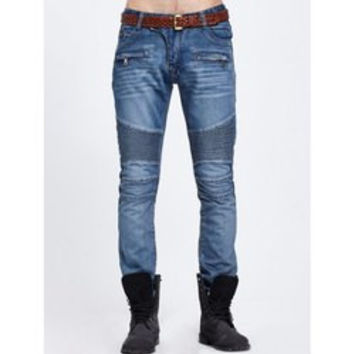 Scratched Zipper Pocket Rib Paneled Jeans