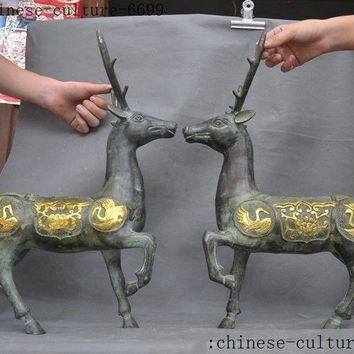 christmas old Chinese bronze Gilt Feng shui auspicious wealth Sika deer Cranes statue pair