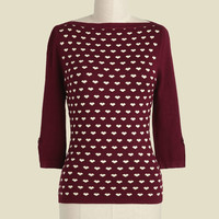 Up to Parisienne Sweater in Merlot Hearts | Mod Retro Vintage Sweaters | ModCloth.com