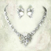 Bridal Necklace Set with Freshwater Pearls, Silver, & Cubic Zirconia from LucyAlia's Bridal Closet