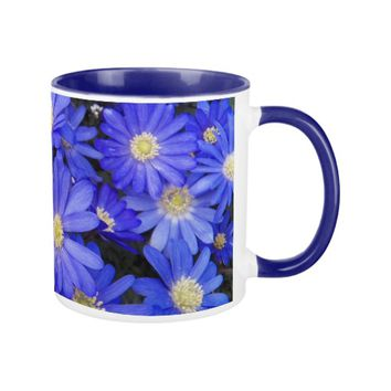 Blue Anemones Floral Coffee Mug
