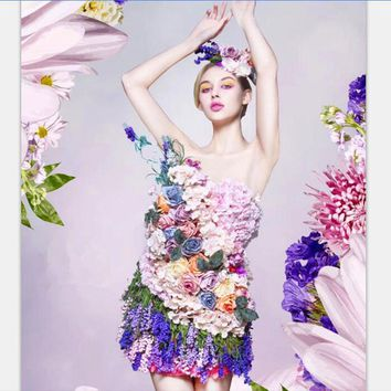 Women Carnival Adult Costume Wedding Dress with Headpiece Sexy Cosplay Costume Flower Fairy dress