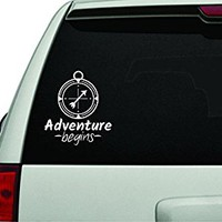 Dabbledown Decals Adventure Begins with Compass White Version Car Window Windshield Lettering Decal Sticker Decals Stickers