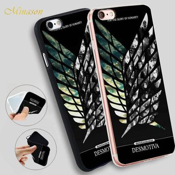 Cool Attack on Titan Minason Japanese Anime  Wings Soft Silicone Phone Case for iPhone X 8 5S XR XS Max 5 SE 6 6S 7 Plus Cover AT_90_11