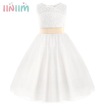 White First Communion Formal Dresses for Girls 2017 Summer Tulle Lace Heart Shape Tutu Toddler Pageant Kid Weddings Party Dress
