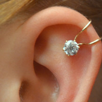CZ Ear Cuff  with 5mm Cubic Zirconia  Sterling by ChapmanJewelry