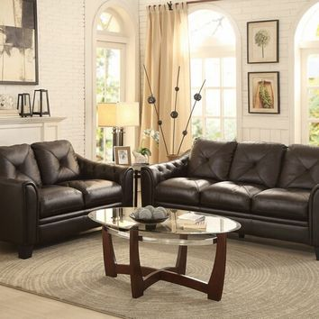 Home Elegance 8311-SL 2 pc memphis collection chocolate top grain leather match upholstered sofa and love seat set