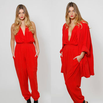 Vintage 80s DONNA KARAN Three Piece Suit Red SILK Draped Jacket & Pantsuit Silk Deep V Bodysuit Pantsuit