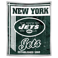 New York Jets NFL Mink Sherpa Throw (50in x 60in)