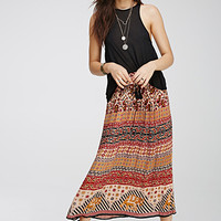 Mixed Paisley Print Maxi Skirt