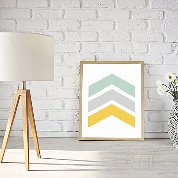 Mint + Mustard Yellow Chevrons