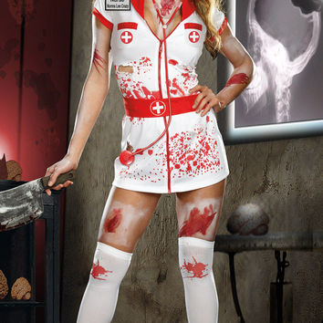 White Ripped Bloody Nurse Costume