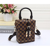 Perfect LV Women Leather Square Backpack Bookbag Daypack Satchel