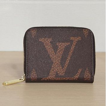 Louis Vuitton LV New Fashion Letter Print Leather Clutch Bag Wallet Coffee