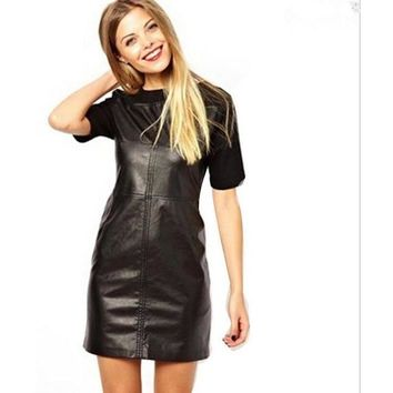 Crew Neck Faux Leather Mini Dress