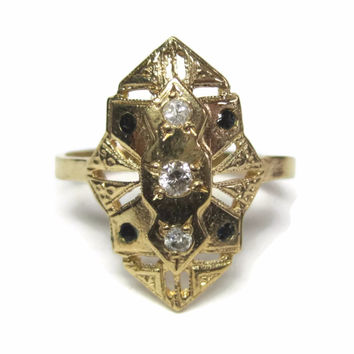 Dainty Vintage 14K Diamond and Sapphire Ring Size 5.5
