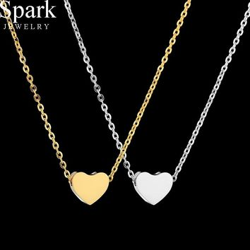Spark Simple Jewelry Gold Color Cute Heart Pendant Necklace Stainless Steel Charm Chain Love Necklace Drop Shipping