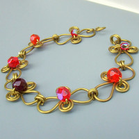 Brass bracelet yellow gold red wire wrapped jewelry