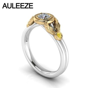 10KT White Gold Setting Yellow Gold Yellow Natural AAA+ Flawless Lab Grown Diamond Sapphire Engagement Ring