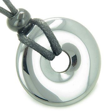 Amulet Lucky Magic Donut Hematite Crystal Evil Eye Protection Good Luck Pendant Necklace