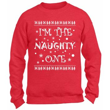 I'm The Naughty One Christmas Sweatshirt. Funny Couples Christmas Sweater. Funny Xmas Gifts. Ugly Christmas Sweater.