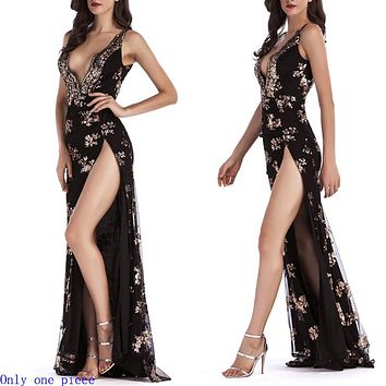 Sexy new sequined halter halter dress with plunging neck and slit