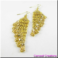Seed Bead Earrings Chandelier Dangle Beadwork Ripples in Gold