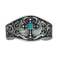 Silver and Black Winged Cross Fluery Cuff Bracelet (BC1157)