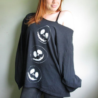 Jack Skellington Hand Painted Oversized Off The Shoulder Sweatshirt