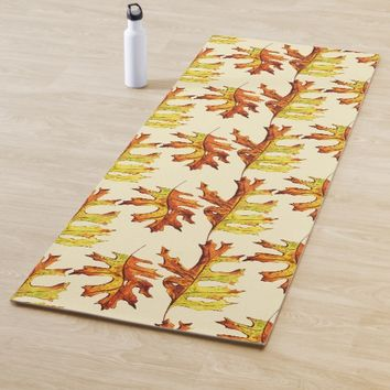 Ink Watercolor Painted Autumn Leaves Pattern Yoga Mat