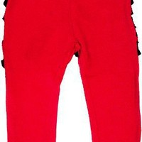 Micro Me Solid Baby Legging with Checkerboard Ruffles, Red, 9 Months