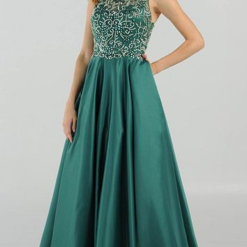Emerald Green Cut Out Back Beaded Long Prom Dress with Pockets