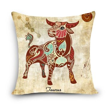 Minimalist 12 Zodiac series Print Home Decorative Cushion Vintage Cotton Linen Square Throw Pillowcase 12 Constellations MYJ-G6