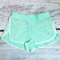 COZY NIGHTS LACE SHORTS IN MINT