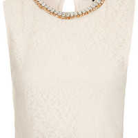 Necklace Lace Crop Top - Tops  - Clothing