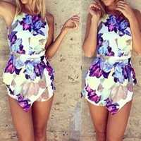 Sleeveless V-Neck Floral Romper