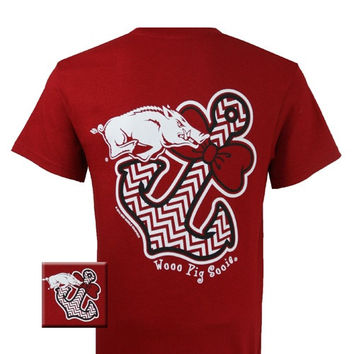 New Arkansas Razorbacks Chevron Achor Bow Girlie Bright T Shirt