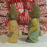 Hand Carved Wood Bunny Rabbits for Easter or Valentines Day Gift