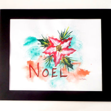 Noel Red Poinsettia Art, Christmas Art Original Painting, Christmas Painting Inspirational Art, Holiday Decor Mixed Media Christian Art
