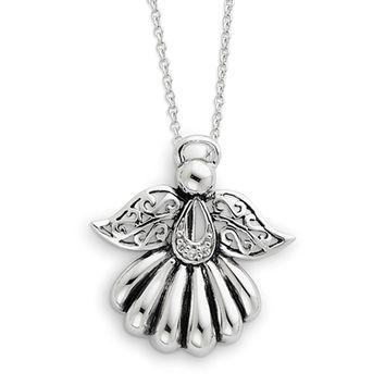Rhodium Plated Sterling Silver & CZ Angel of Remembrance Necklace