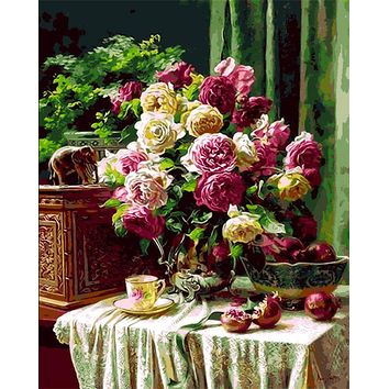 DIY Oil Painting By Numbers Frameless Paint On Canvas Modern Wall Pictures For Living Room Wall Art Home Decor Flower still life
