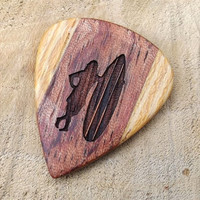 Handmade Premium Wood Guitar Pick - Laser Engraved Surfer Design - Bubinga & Lati Wood