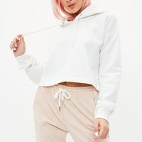 Missguided - White Cropped Hoodie